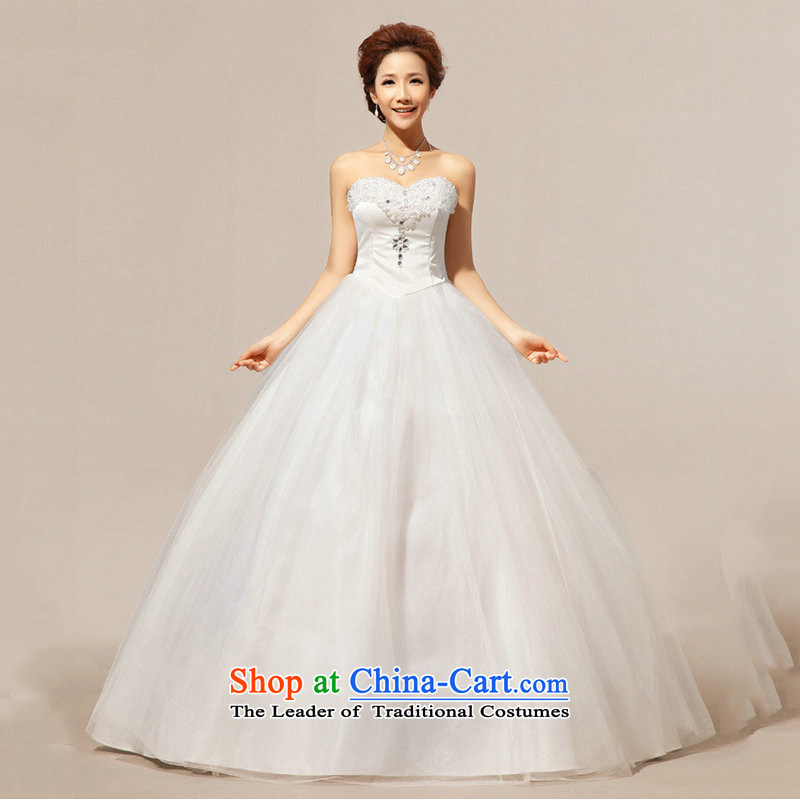 Optimize Hong-bride stylish wedding dresses and chest of large thin graphics Korean lace princess wedding XS7164 m White?L