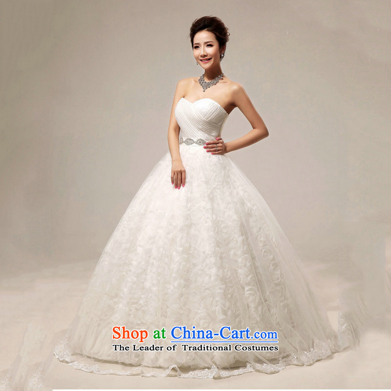 Optimize video 2015 Summer Korean sweet bon bon wedding dresses packages to align the shoulder lace wedding?XS7105?m White?XXL