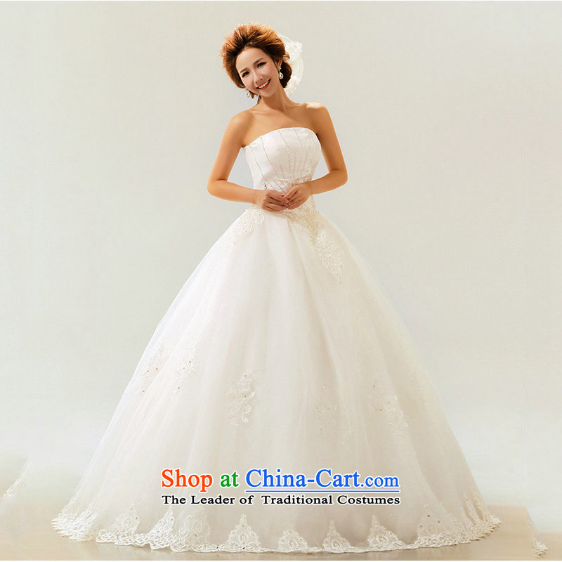 Optimize Hong-wedding dresses new 2014 Spring/Summer stylish marriages Korean wiping the chest straps to align the large diamond XS7086 female m White?XL