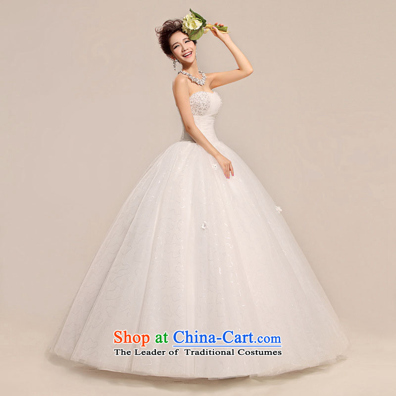 Optimize video sexy sweet chest Ultra video is wiped Foutune of Korean version of pure white large petticoats wedding XS7076 white�L