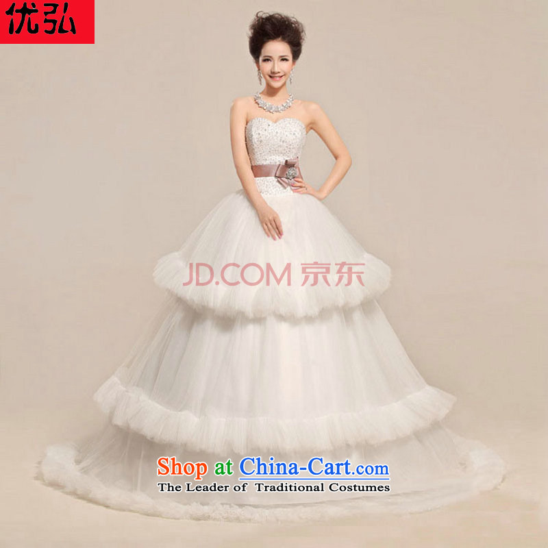 Optimize the new 2013 Hong-cardioid anointed Chest Flower waist waves Fung skirt wedding dress XS7081 White?M