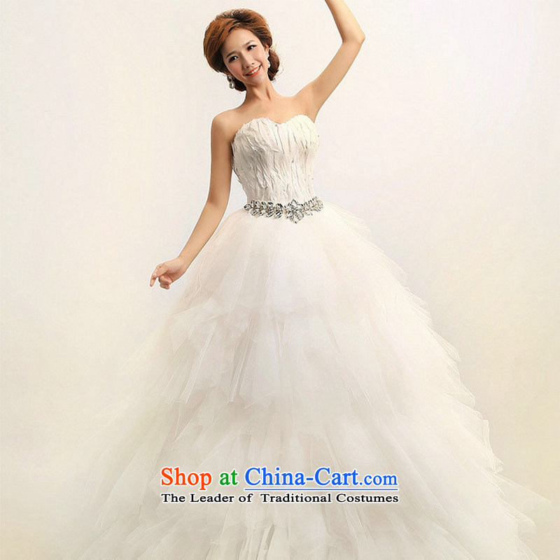 Optimize the new 2013 Won-hong feather anointed chest Version The Princess Bride marriage wedding dresses XS7080 m White?L
