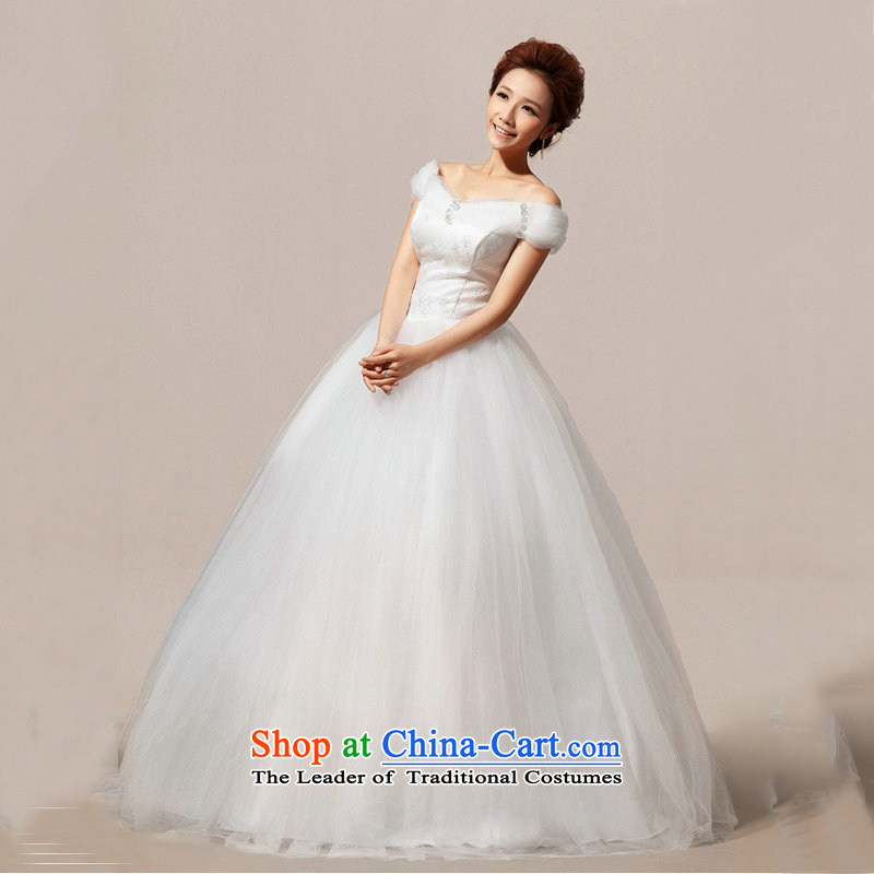 Optimize the New Korea Mr Philip version to align the shoulder marriages graphics word thin shoulders wedding dress�XS7085 bon bon girl��S m White
