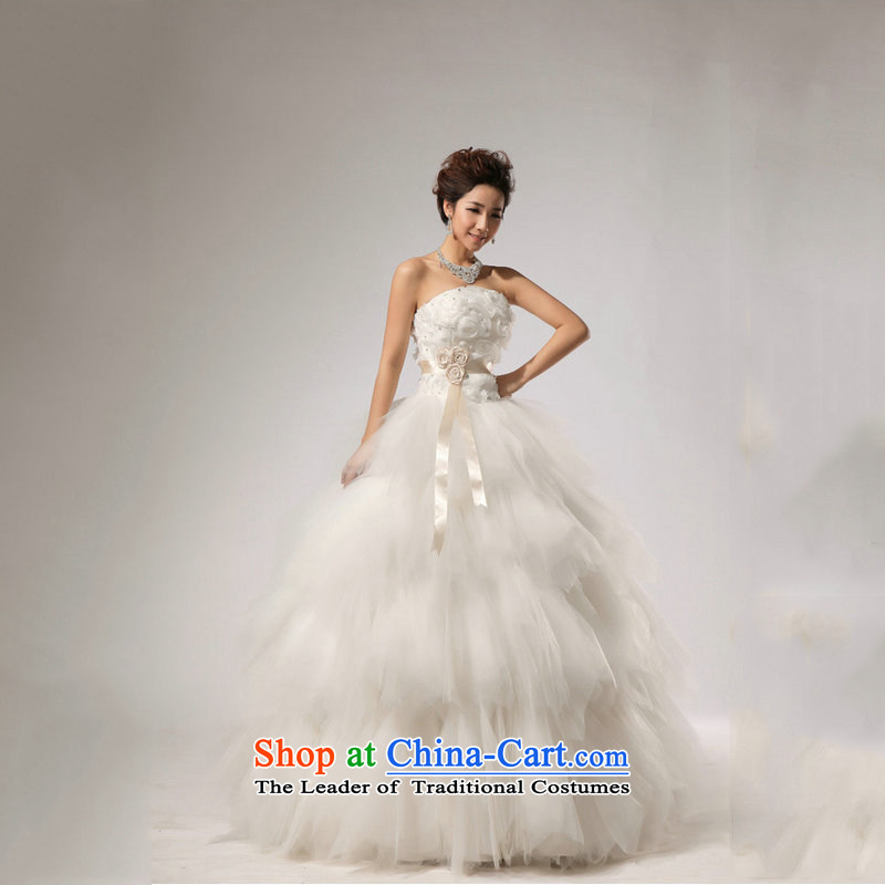 Optimize Hong-wedding dresses new 2014 Spring/Summer stylish marriages Korean wiping the chest straps to align the large diamond XS7087 female m White?L