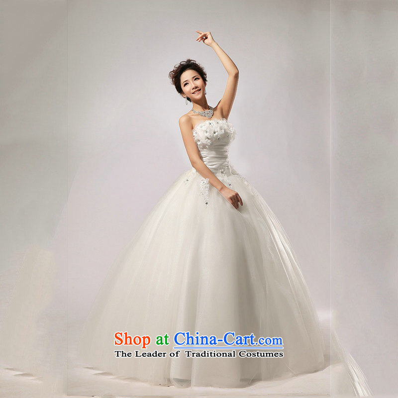 Optimize video new spring 2014 Korean video thin wiping the Chest Sau San wedding dress straps to align XS7102) m White XL