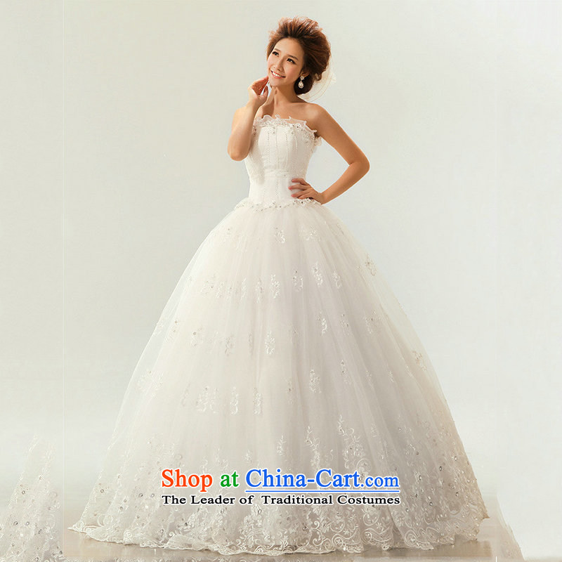Optimize Hong-wedding dresses new 2014 Summer Korean brides to align the white slim body diamond anointed chest XS7091 Ms. m White?XL