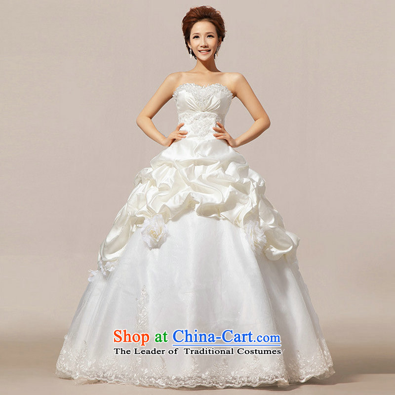 Optimize the new Korean Hong-style alignment with Princess chest bon bon wedding dresses XS7099 m White�XL