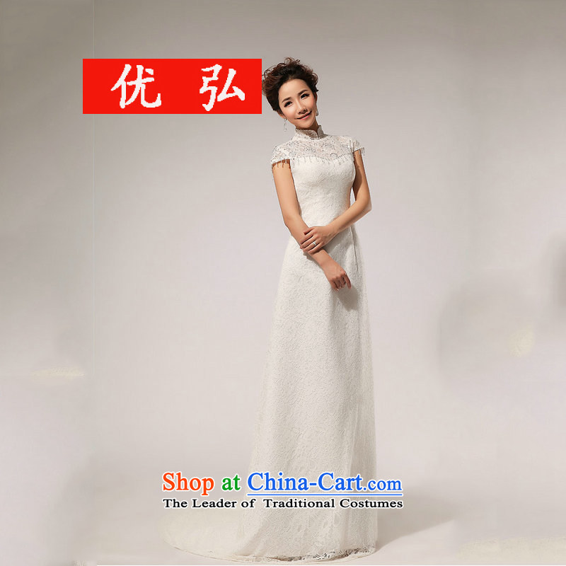 Optimize the Word 2015 Dr Philip WONG shoulder crowsfoot wedding Sau San lace tail graphics XS7095 Foutune of thin White XXL