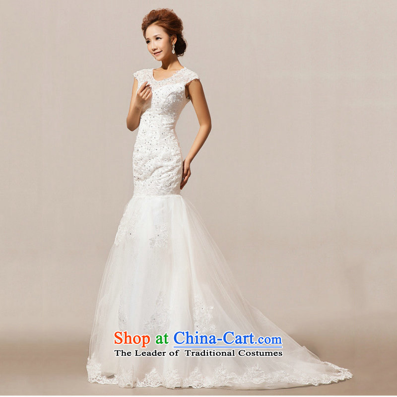 Optimize Hong-wedding dresses new Word 2014 winter stylish shoulder tail crowsfoot Korean brides-Sau San shoulder type graphics thin white�L M XS7096