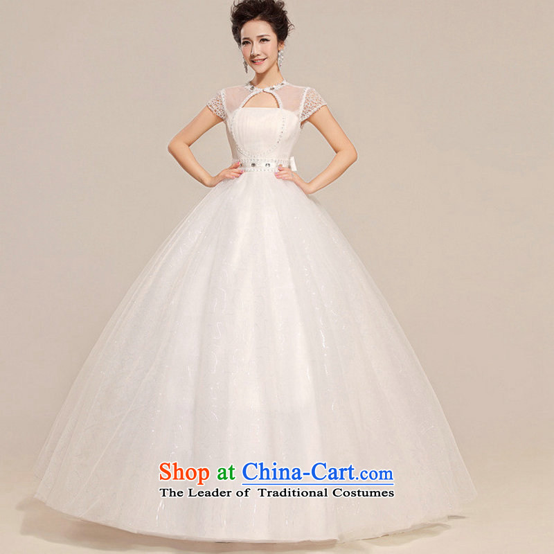 Optimize Hong-wedding dresses聽2014 new Korean sweet fresh flowers package shoulder round-neck collar align bon bon skirt to bind with wedding XS7104 white聽L