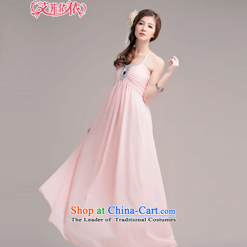 Glued to the Eiffel long marriage banquet bows chiffon evening dresses?2015 Korean moderator stage wedding nail pearl strap video thin dress skirt 4874th pink?XL code
