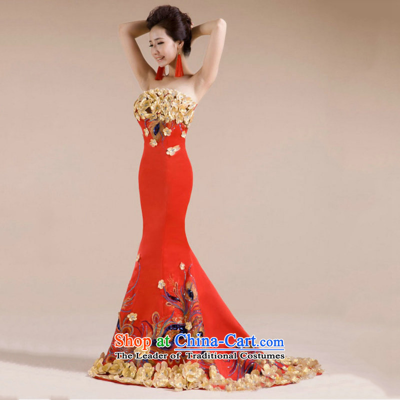 Optimize video upscale dinner dress in-the-know luxury service banquet Phoenix embroidery bows long load XS7142 bride red L