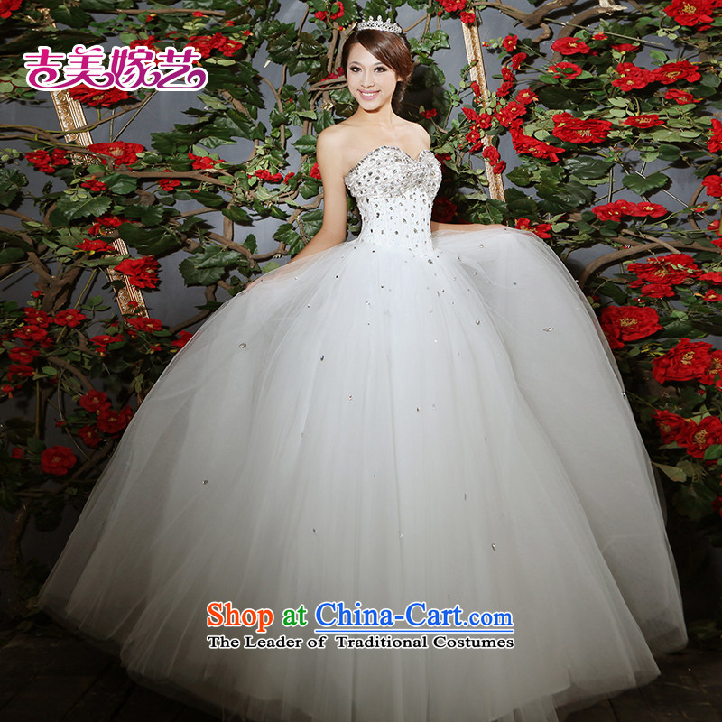 Beijing No. year wedding dresses Kyrgyz-american married arts 2013 new anointed chest Korean skirt to align bon bon HS601 bride wedding ivory�L
