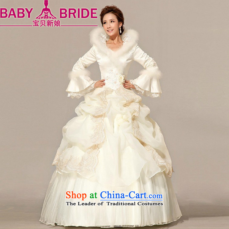 Baby bride winter wedding Princess Bride to align the long-sleeved wedding dresses 2014 new winter) cotton wedding incense fashionable color�L