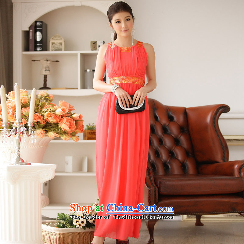 ?To manually obtain JK2 Wai nail-ju long chiffon dress dresses orange are code