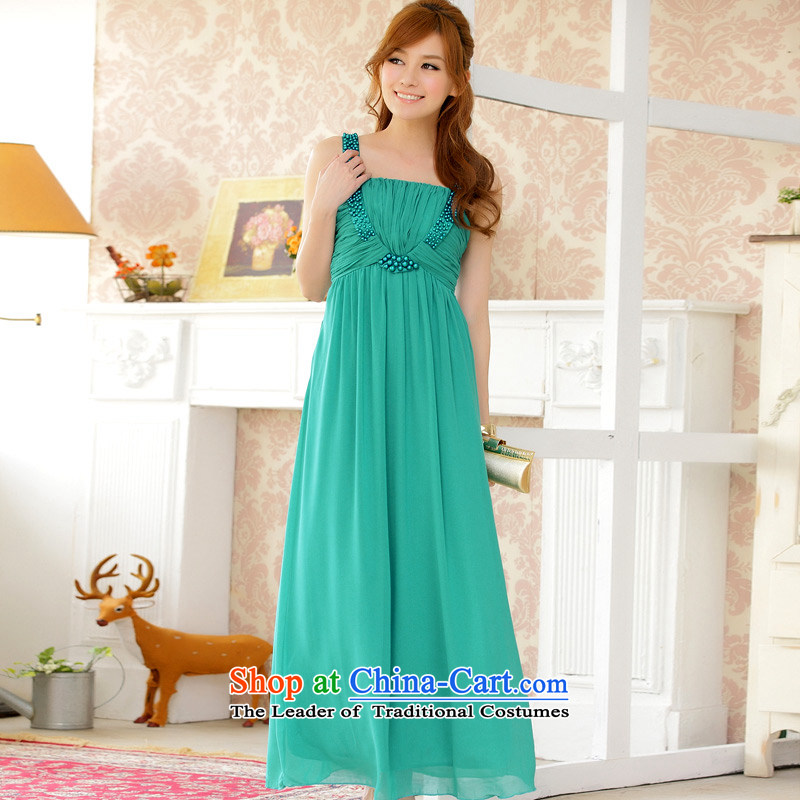 At the end of a light weight manually temperament nail-ju long chiffon dress dresses green?XL