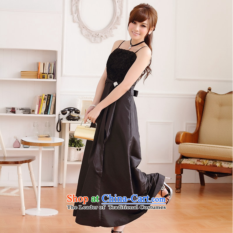 ?The Sau San rose temperament JK2 video thin drill clip gown dresses evening dress uniform black?XXXL bows