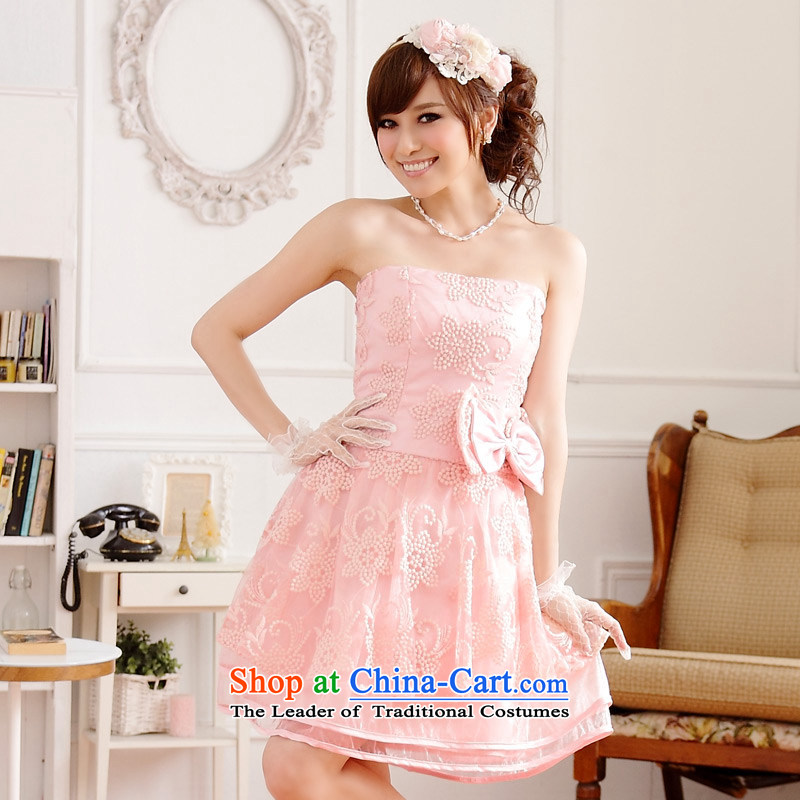 The end of the light (MO) QIAN aristocratic stylish sister skirt Europe at the end of the root of burrs rust chest princess skirt bridesmaid dress annual small dress dresses with invisible with pinkXXL