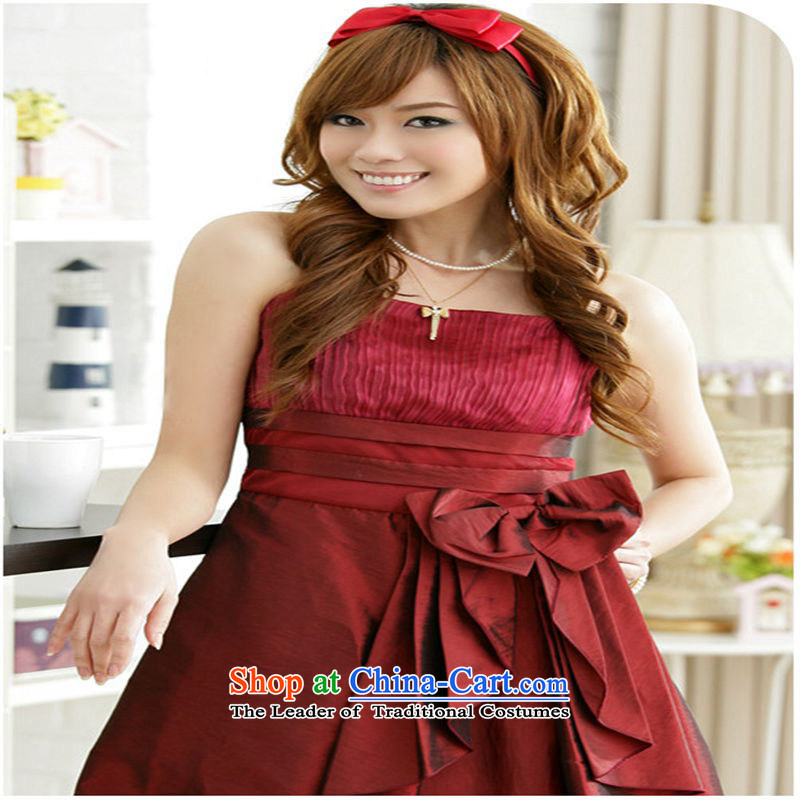 The end of the light (MO) summer QIAN noble big bow tie straps dress dresses dark red are code
