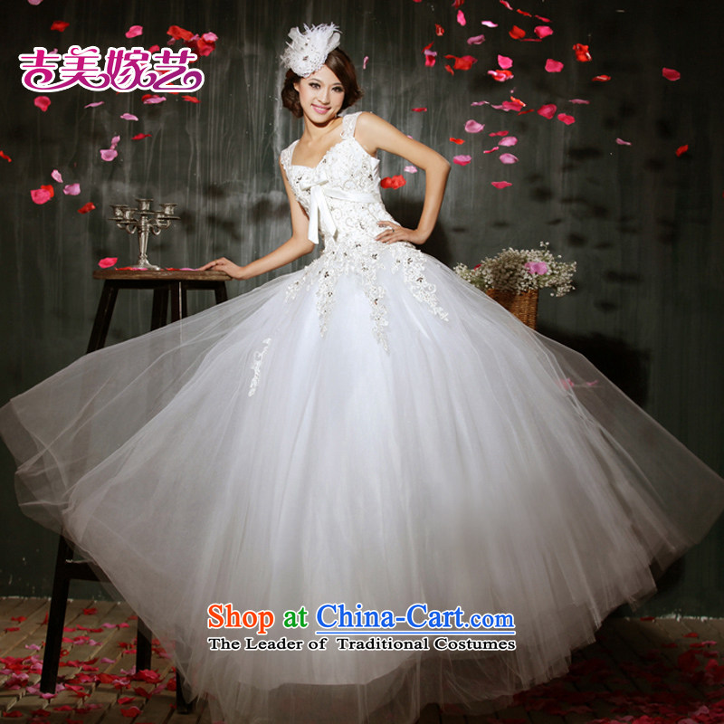 Beijing No. year wedding dresses Kyrgyz-american married arts 2015 new shoulders Korean skirt to align bon bon HS604 bride wedding ivory S