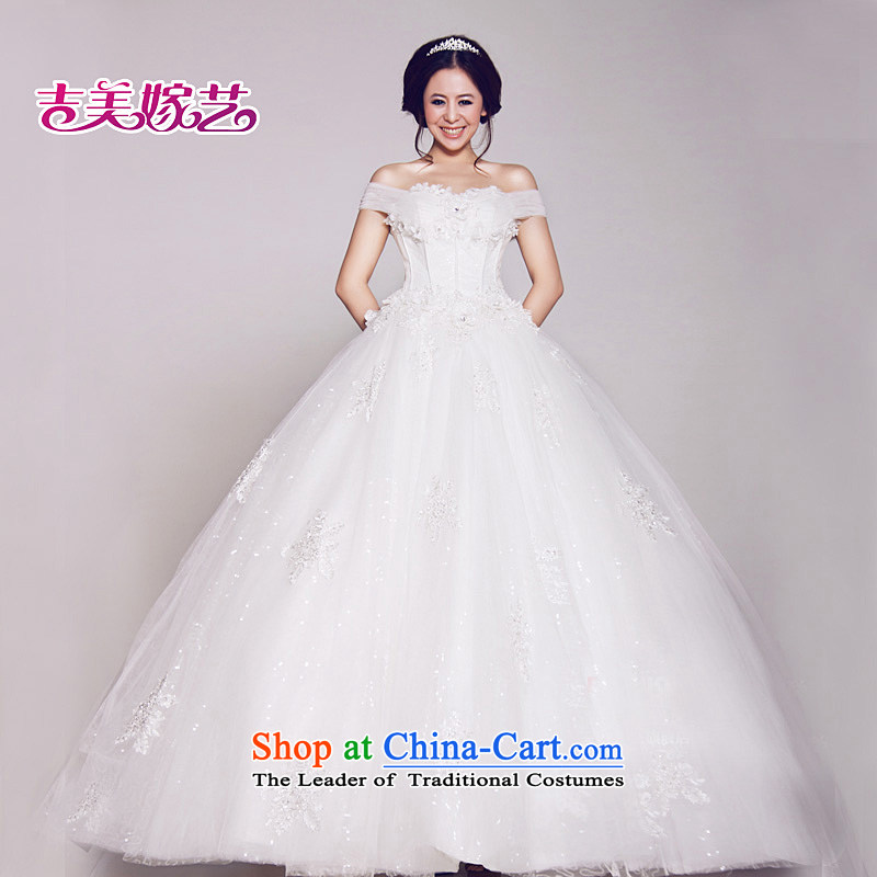 Beijing No. year wedding dresses Kyrgyz-american married a NEW 2015 arts field shoulder Korean skirt to align bon bon HS642 bride wedding ivory S