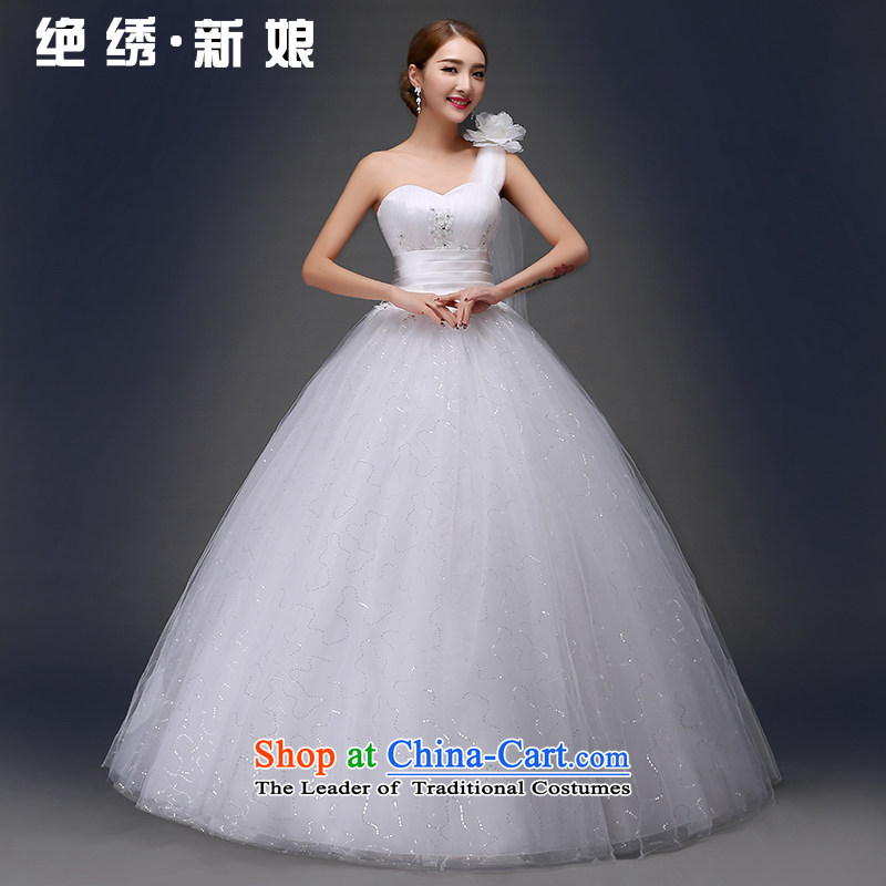 Embroidered brides is shoulder wedding dresses 2015 new Korean sweet flowers Beveled Shoulder graphics thin diamond jewelry wedding dress out bon bon yarn white made does not allow
