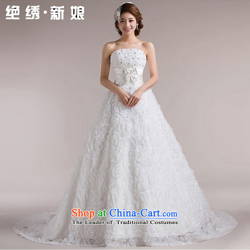 Embroidered Bride Spring聽2015 is recommended retro straps Sau San bon bon Korean wedding dresses trailing white, tailor-made does not allow