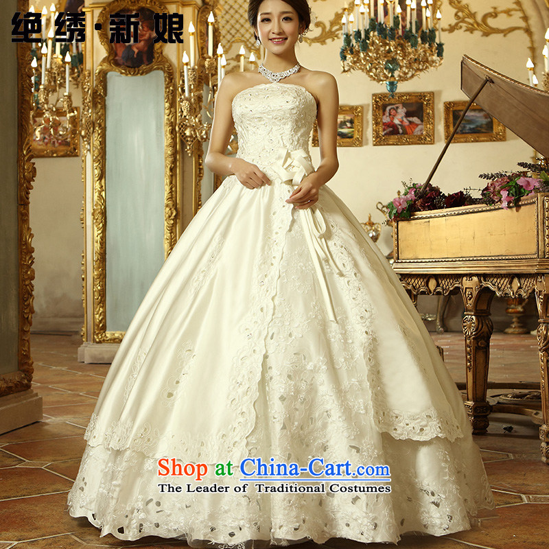 Embroidered is the?new Korean brides 2015 Edition Princess lace white exclusive fashion hot bore with chest wedding white��