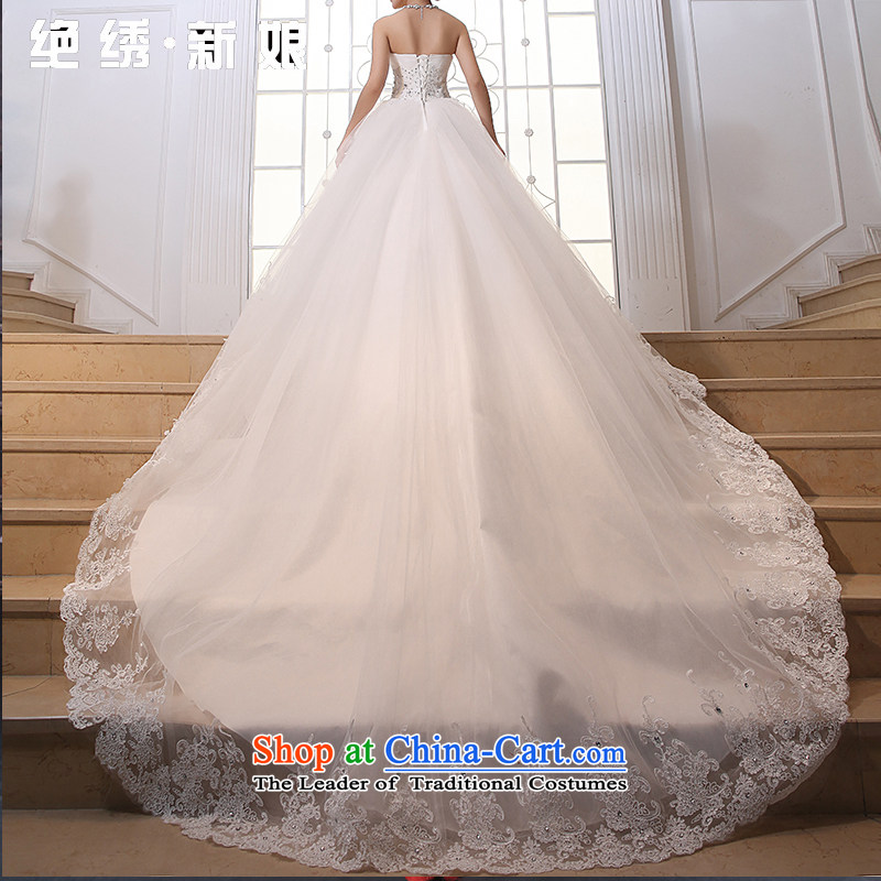 No�new 2015 bride embroidery lace anointed chest Korean Princess large tail wedding wedding dress white streak)