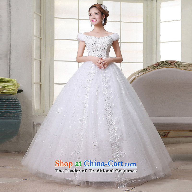 No Korean brides embroidered Winter Jackets�2015 New Princess bon bon skirt the word shoulder wedding White�XL Code Suzhou Shipment