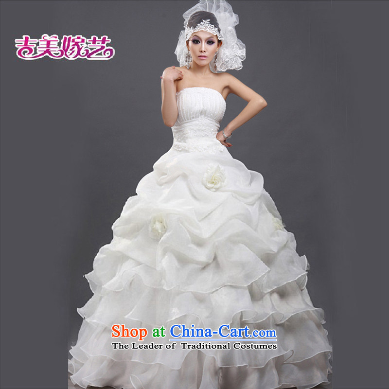 Beijing No. year wedding dresses Kyrgyz-american married arts 2013 new anointed chest Korean skirt to align bon bon HS102 bride wedding ivory?M