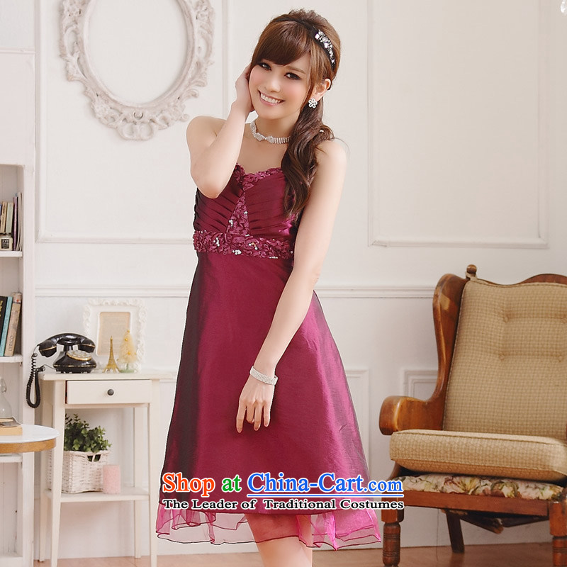 The end of the light _MO_ gorgeous QIAN breast thin waist V-Neck Strap dress dresses evening dresses?XXXL aubergine