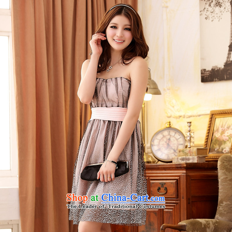 The end of the light (QIAN MO) mini super star gauze Foutune of chest princess dress skirt (sent stealth shoulder strap) pink�XXL