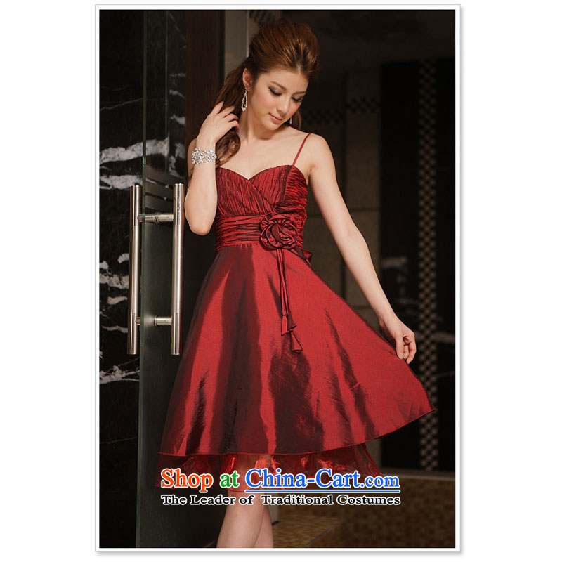 The end of the light (QIAN MO) spring and summer obsessed with winning pinch manually taken it into the skirt will wine red