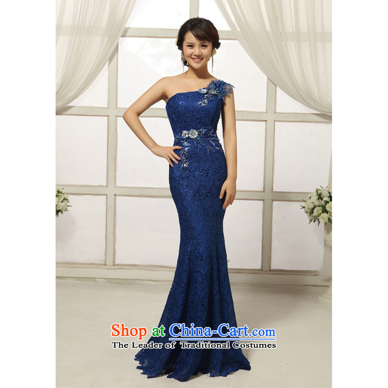 2014 new exquisite flowers bride wedding dresses manual of fashionable shoulder lace long crowsfoot evening dress dark blue�S