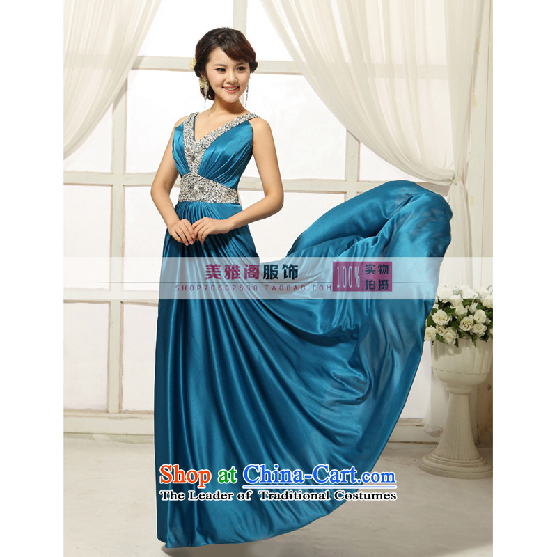 2013 new bride wedding dress of fashionable long bows banquet hosted ball evening dress dark blue?XL