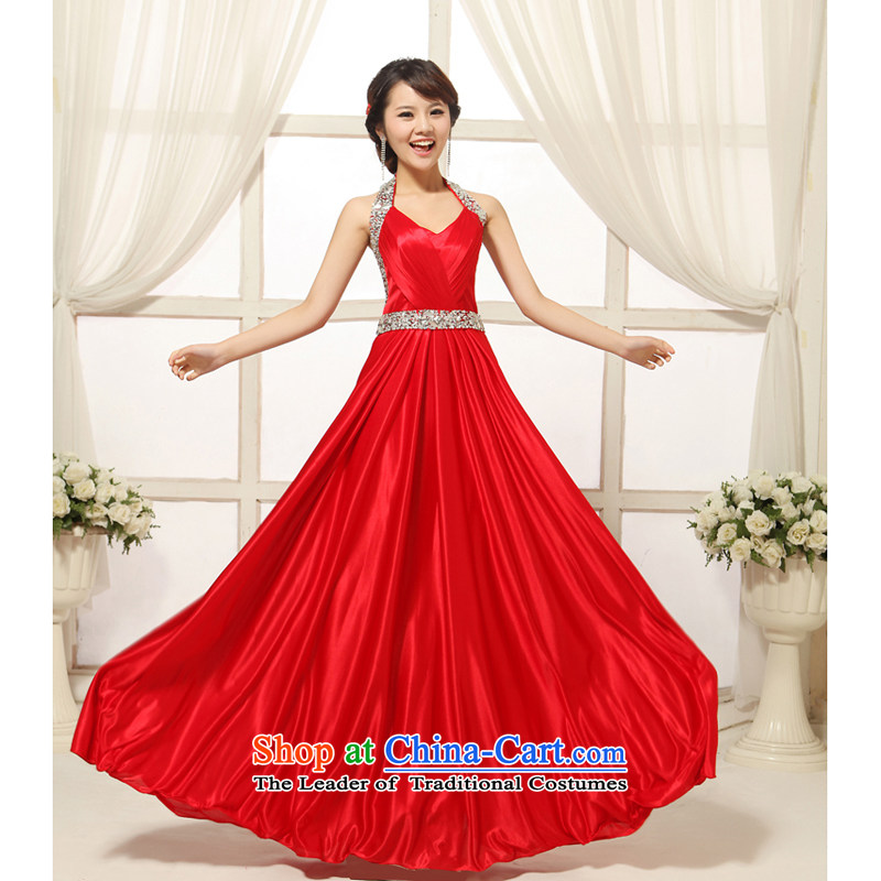 Elegant red wall studs on-chip beads also long large bride wedding dress bows services banquet evening dresses RED?M