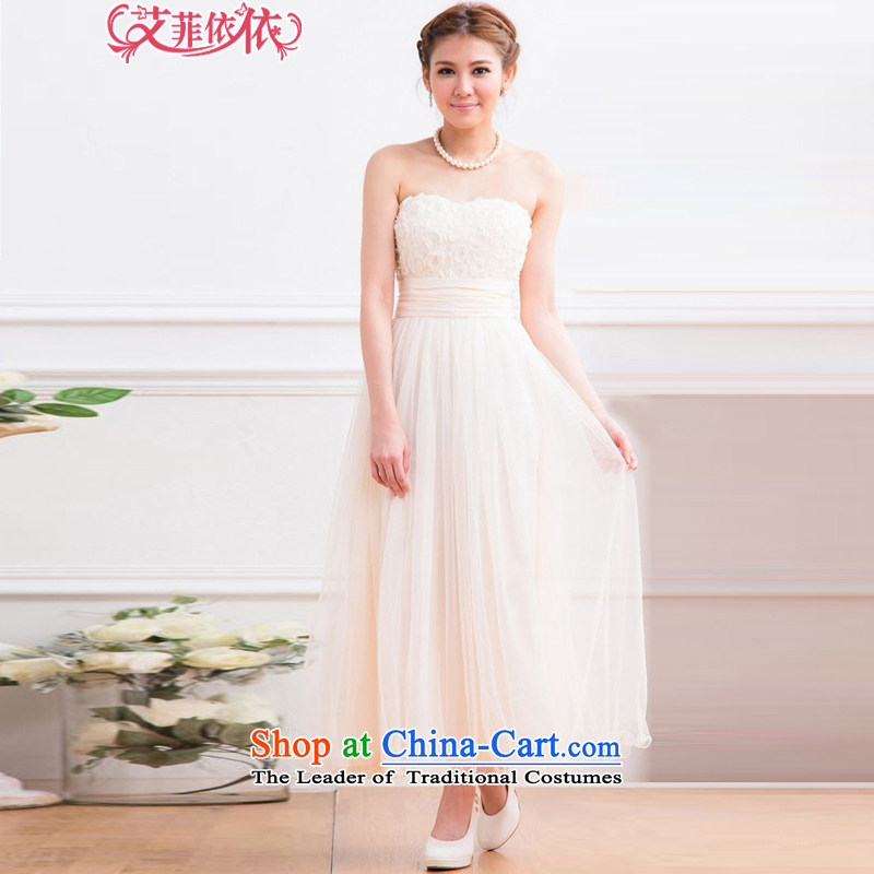 Of the glued to the long Foutune of wiping the chest bon bon dress skirt 2015 Korean brides wedding banquet marriage under the auspices of bows wrapped chest evening dresses4812 apricot XL