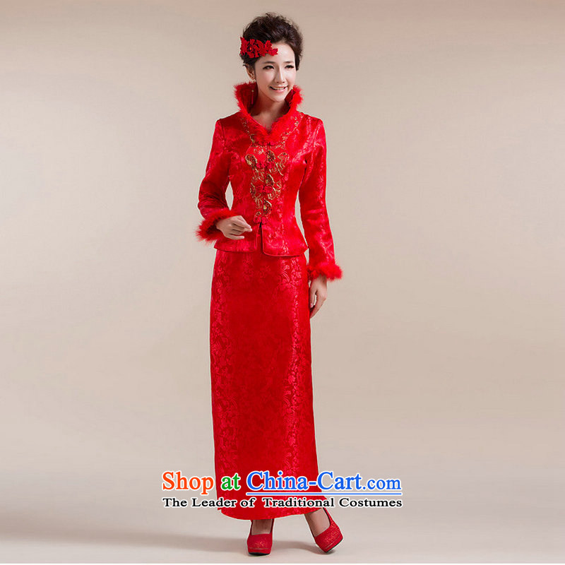 There is also a grand bride Load Optimize new large red marriages Tang Dynasty Chinese two kits deluxe suite XS7149 dress red?L