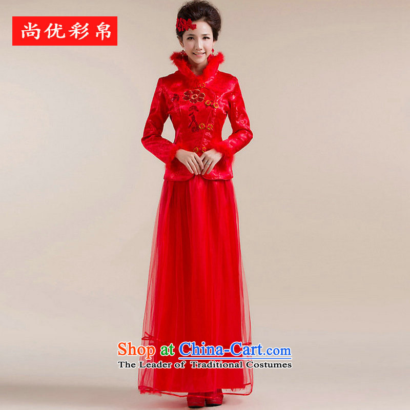 There is also a grand new optimized fluff Mock-neck multiple layers of gossamer dragging chest flower embroidery Tang Gown wedding dress XS7148 RED�M