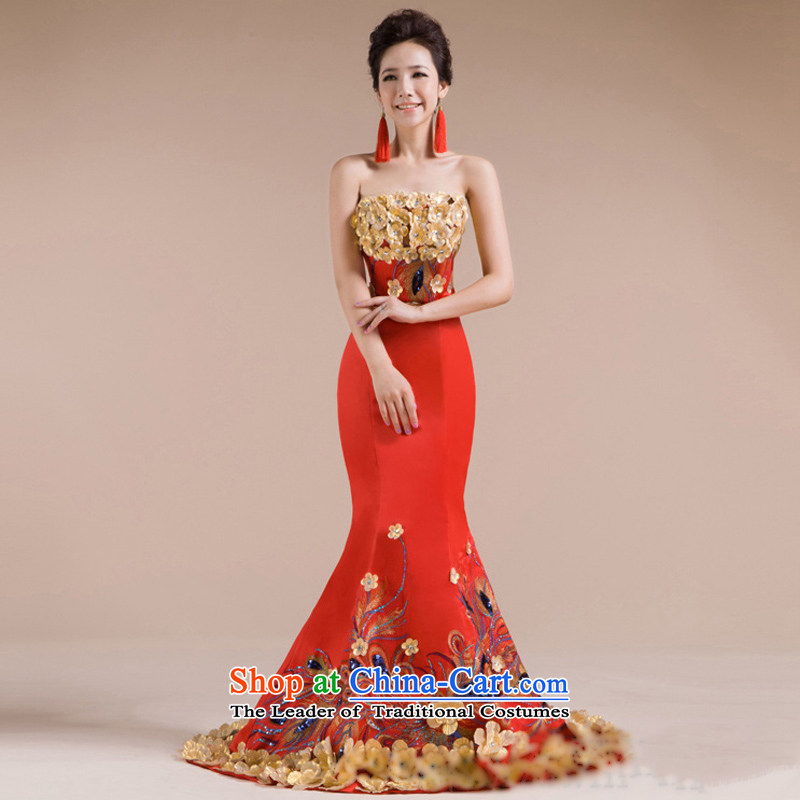 There is also a grand new optimize multi-dimensional flowers beautifully Phoenix luxurious hotel embroidered evening dresses XS7142 RED S