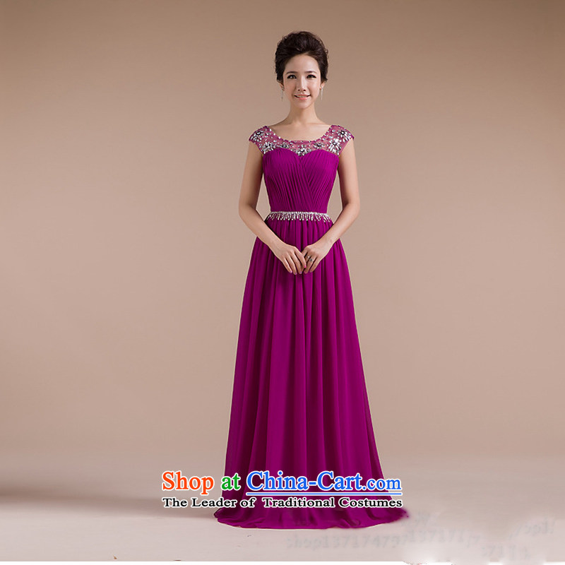 Yet the new 8D color optimize Word classic shoulder dress fine sexy luxury retro evening dresses XS7141 PURPLE?XL