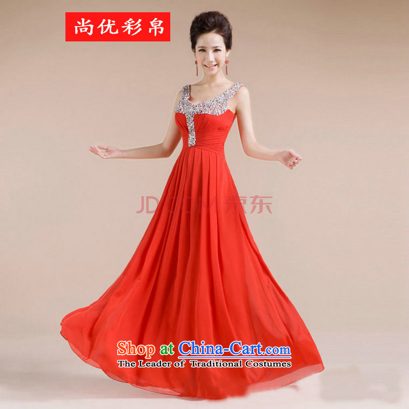 There is also a grand new optimized V-neck design manual diamond jewelry sexy beauty evening dresses XS7139 RED M