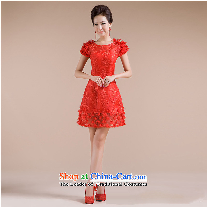 There is also a grand new optimized threw shoulders with flower embroidery and small dresses fine XS7134 RED�XL