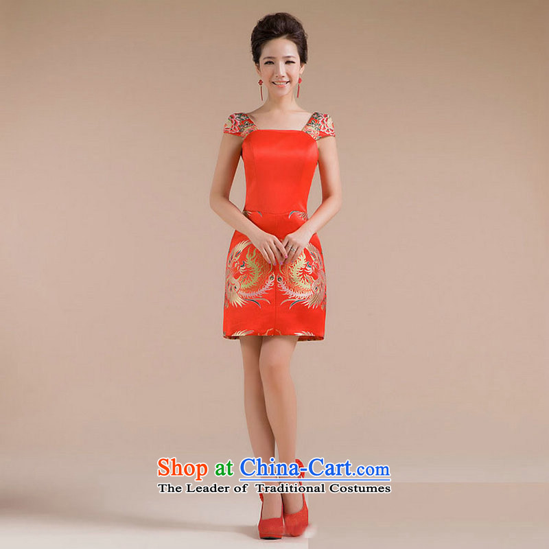 There is also a grand new optimized pattern strap repair waist Phoenix embroidery decorated and small dress XS7133 skirt red?XXL