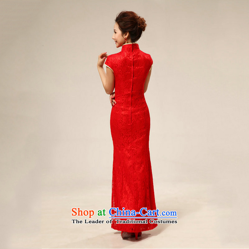 There is also optimized 8D red retro lace marriages bows qipao gown XS7128 RED�XXL