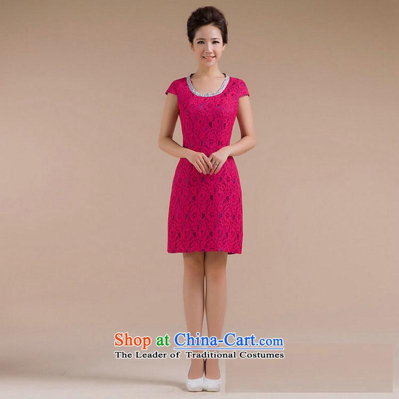 Optimize Multimedia silk is a new stylish round-neck collar body pattern is a minimalist XS7123 small dresses Sau San Red?L