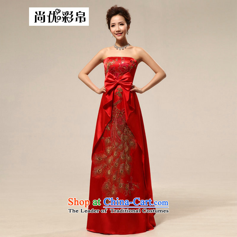 Optimize Multimedia silk is a new stylish wedding dress bows Service Bridal red wedding dresses pregnant women wedding dresses XS7110 RED�XL