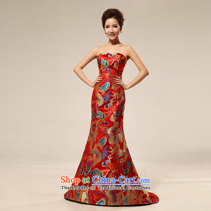 There is also a grand new optimized dragon robe evening dresses marriages long gown XS7107 RED?M