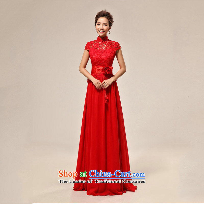 Yet the new 8D Color Optimization luxury sexy word shoulder red lace bride wedding dress XS7106 RED L